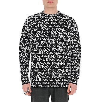 Balenciaga 599826t31701070 Men's White/black Cotton Sweater
