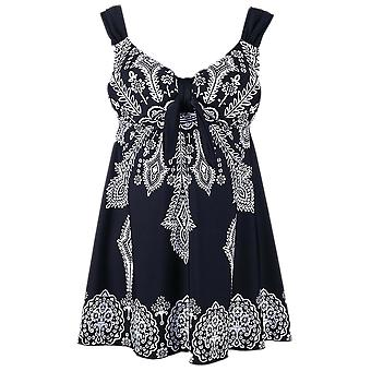 Plus Size Retro Print Pin Up Swimdress Style Swimsuit Tankini Set