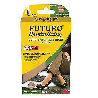 Futuro revitalizing ultra sheer knee highs, nude, medium, 1 pair