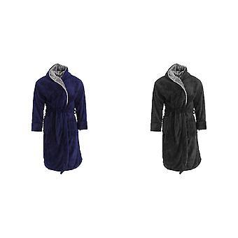 Harvey James Mens Soft Hooded Fluffy Dressing Gown
