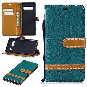 Samsung Galaxy S10 mobiele telefoon geval beschermende zak gevaldekking van het zakje portemonnee groene kaart cover