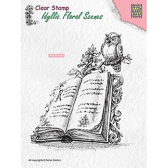Nellie's Choice Clearstamp - Idyllic Floral Scenes Book with owl IFS013 100x113mm