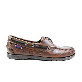 Sebago Schooner 7000GD0 Brown Waxed Leather Mens Lace Up Boat Shoes