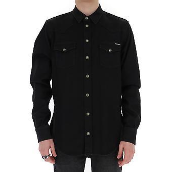 Dolce E Gabbana G5ex7dg8ce9s9001 Män's svart bomullsskjorta