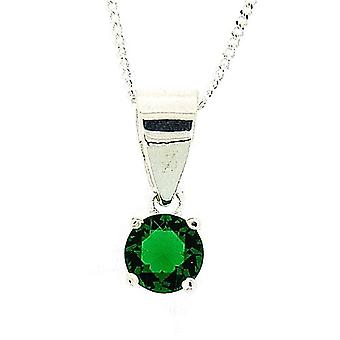 The Olivia Collection Sterling Silver Green CZ 5mm Pendant on 18 Inch Chain