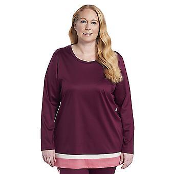 Rösch 1194558-16539 Women's Curve Wine Red Cotton Pyjama Top