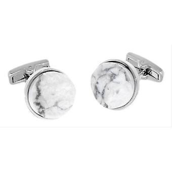 Duncan Walton Buxton Howlite Semi Precious Cufflinks - White/Grey