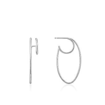 Ania Haie Ear We Go Rhodium Oval Double Hoop Earrings E023-15H