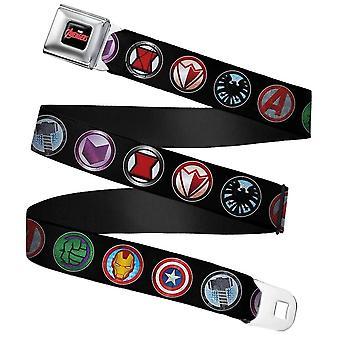 Marvel Avengers Icons Full Colour Webbing Seatbelt Buckle Belt