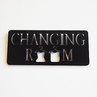 Black Changing Room with Hanging Clothes Acrylic Door Sign