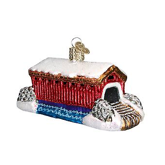 Old World Christmas Red Covered Bridge Glass Holiday Ornament 4 Inch