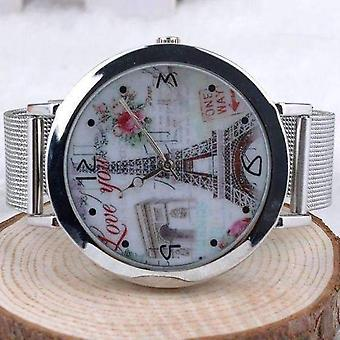 Eiffelturm Silber Mesh-Band-Uhr