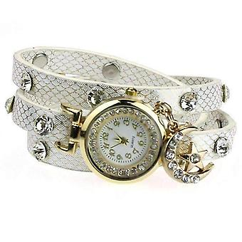 Look to the moon and stars sparkly wrap bracelet watch in white