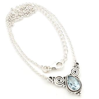 Blue Topaz Necklace 925 Silver Sterling Silver Chain Necklace (MCO 09-62)