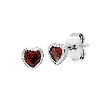 Essential Heart Shaped Garnet Stud Earrings in 925 Sterling Silver 4.5mm 270E026103925