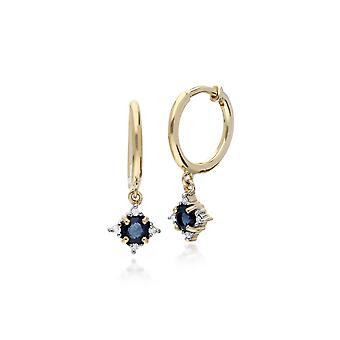 Classic Round Sapphire & Diamond Hinged Hoop Earrings in 9ct Yellow Gold 135E1215039