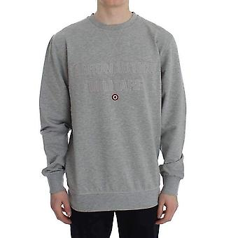 Gray Cotton Stretch Crewneck Pullover Sweater -- SIG3798597