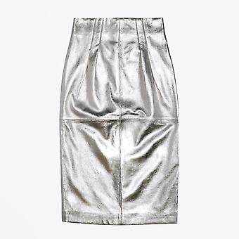 PS Paul Smith  - Metallic Leather Skirt - Silver