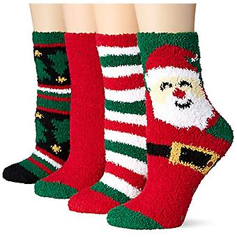 Essentials Women's 4-Pack Fuzzy Socks, Santa, One Size