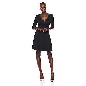 Lark & Ro Women's Faux Wrap Fit en Flare Dress, Zwart, Groot