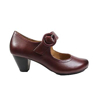 Caprice 24403 Bordeaux Leather Womens Mary Jane Heeled Shoes