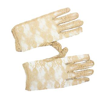 Womens Lace Rose Design Short Wrist Gloves