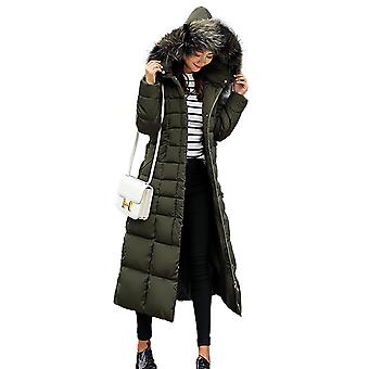 Womens Faux Fur Trim Hooded Padded Maxi Parka Winter Coat
