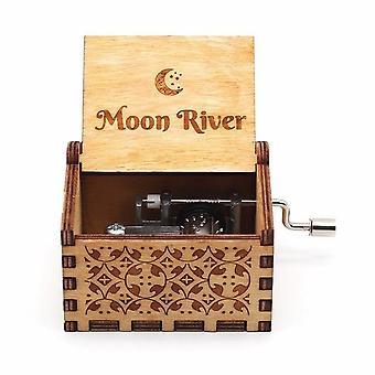 Moon River Vintage Hand Crank Snidade Trä Trä Wood Music Box - Musical Lådor Presenter till jul / födelsedag / valentine' s dag