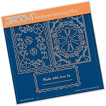 Groovi Josie's Parchment Trading Card Made with Love A5 Square Plate