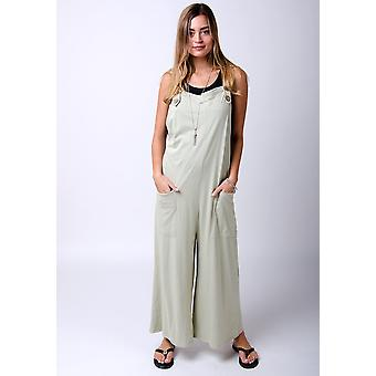 Amber loose fit jersey dungarees green