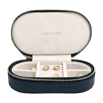Stackers Navy Croc Faux Leather Oval Travel Box