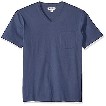 Goodthreads Men's Short-Sleeve Sueded Jersey V-Neck Pocket T-Shirt, Navy, X-L...