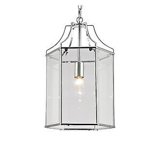 Geïnspireerde Deco - Payton - Zeshoekige plafondhanger Lantaarn E27 Gepolijst Chroom, Helder Glas