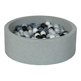 Poço de bola 90 cm com 300 bolas pretas, brancas, mãe de pérola, transparente e cinza