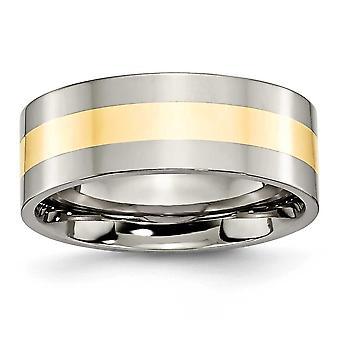 Titan-Flachband gravierbare 14 k Gold Inlay flach 8mm poliert Band Ring Schmuck Geschenke für Frauen - Ring Größe: 6 bis 14