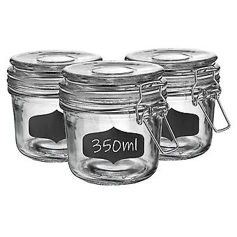 Glass Storage Jars with Airtight Clip Lid and Chalkboard Stickers - 350ml Set - White Seal - Pack of 6