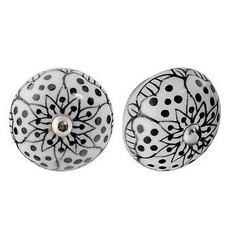 Nicola Spring Ceramic Cupboard Cassetto Knobs - Floral Design - Bianco / Nero - Pacchetto di 12