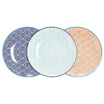 Nicola Spring 6 Piece Geometric Patterned Side Plate Set - Small Porcelain Dining Plates - 3 Colours - 19cm