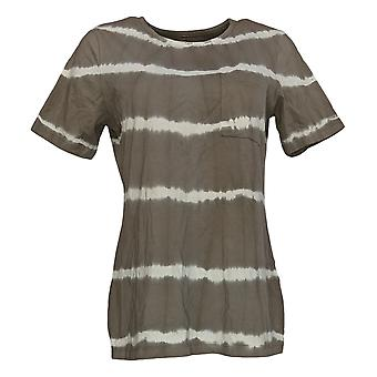 Denim & Co. Femmes&apos&s Top Tie Dye Perfect Jersey Round-Neck Brown A375262