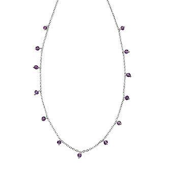 Anfänge Sterling Silber Amethyst Perle Halskette N4386M
