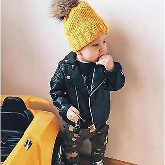 Boys Pu Jacket Spring, Autumn, Diamond Quilted Zipper Coat