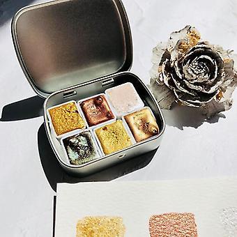 Metallic Pearl Handmade Watercolor Pigment Set, Professionals Paint For Artist