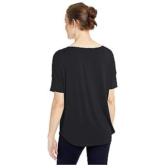 Daily Ritual Women's Jersey Rib Trim Drop-Shoulder Short-Sleeve Scoop Top, Preto, Grande