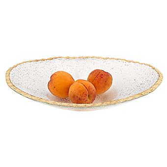 """8"""" Hand Decorated Oval Edge Gold Leaf Serving Bowl"""