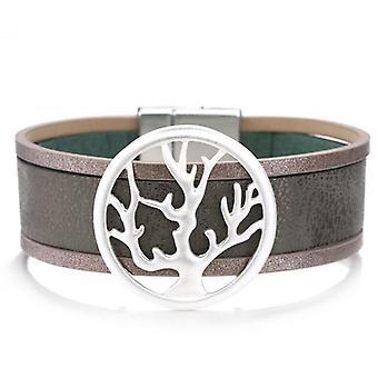 Amorcome شجرة الحياة، سحر أساور جلدية، أزياء عصرية الكفة التفاف واسعة