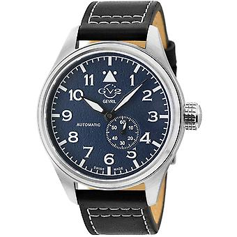 GV2 Men's Aeuronautica Blue Dial Black Calfskin Leather Watch