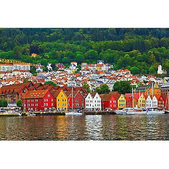 Bakgrunn Veggmaleri Bryggen Gate i Bergen (Norge)