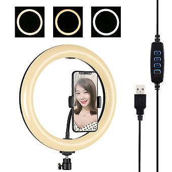 PULUZ 10.2 inch 26cm USB 3 Moduri Dimmable Dual Color Temperature LED Curbat Difle Light Ring Vlogging Selfie Fotografie Video Lumini cu Telefon Cla
