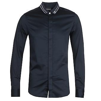 Emporio Armani Camicia Tipped Collar Dark Shirt