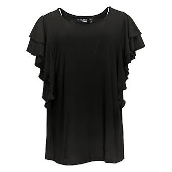 Attitudes By Renee Women's Top Como Jersey Flutter Sleeve Black A301332